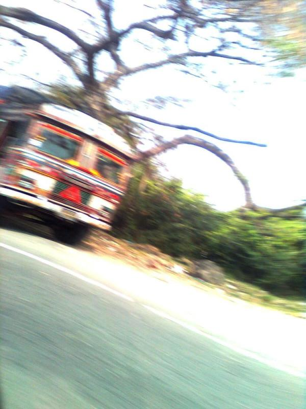 Bus speeding away