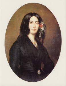 Amantine Lucile Aurore Dupin at age 34. A novelist, her pen name was George Sand.