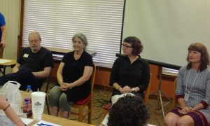 The panel: Publisher Duke Pennell, Publisher Lou Turner, Editor Alex Hess, Agent Jeanie Loiacono