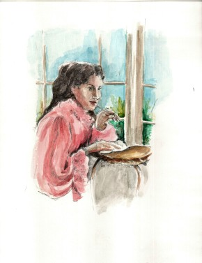 Havah at her writing table © Rochelle Wisoff-Fields