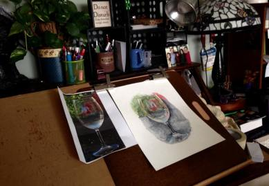 Easel and wineglass