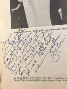 A cherished note. He addressed it to Lucy after the character I played in the scene from You're a Good Man, Charlie Brown.