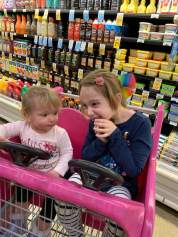 Elsie and Olive in shopping cart