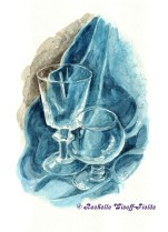 Blue Still Life with Wine Glasses