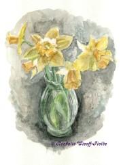 Daffodils in Glass Vase