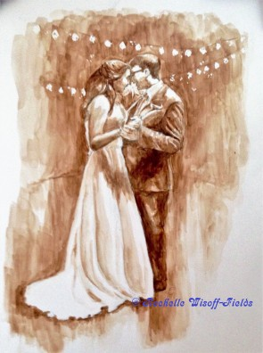 Elena and Brandon first dance painting with Copyright