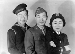 With siblings in WWII